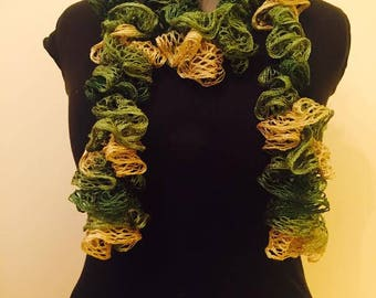 Green and Yellow Ruffled Scarf