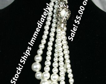 Closeout Sale! 5.00 off!  In Stock! Ships Immediately! Pearl Bracelet, Vintage 3-strand