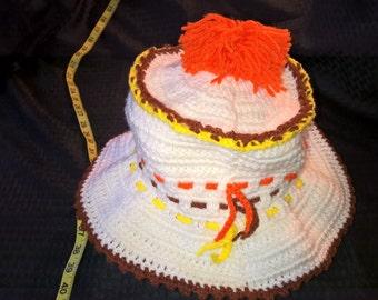 Handmade crochet white, orange and yellow hat