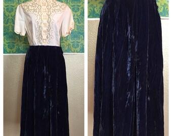 Vintage 1930s Skirt - Cobalt Blue Crushed Velvet Pleated Skirt - L