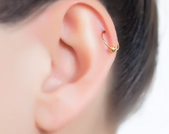 18K Gold tragus earring. Helix earring. tragus hoop. daith earrings