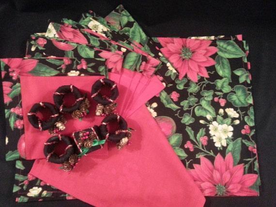 "Handmade Christmas "" Poinsettia Print "" Placemat Set w/ Napkins & Rings"