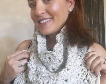 Crochet bandana scarf