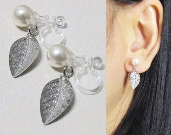 White Pearl Clip on Earrings |20D| Wedding Silver Leaf clip-on earrings Drop Bridal Clip-ons Non pierced Earrings Clip on dangle earrings