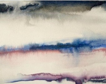 Abstract landscape, abstract watercolor, contemporary watercolor, abstract painting, blue pink painting, wet in wet watercolor, landscape