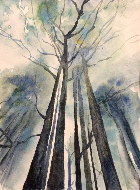 Forest, tree painting, pine trees, Misty trees, watercolor trees, Misty forest, Misty pines, forest painting, pines, Misty woodland
