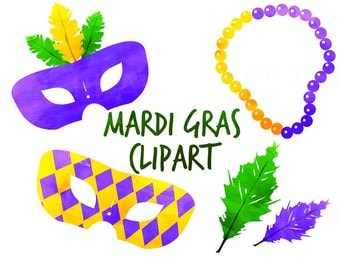 Mardi Gras Clipart, mardi gras clip art, mardi gras mask, for personal and commercial use, instant download, scrapbooking, planner stickers