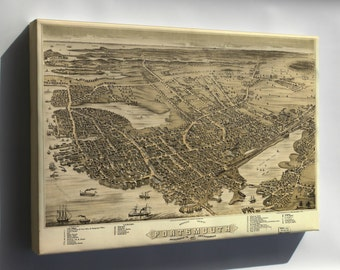 Canvas 24x36; Birdseye Map Of Portsmouth New Hampshire 1877
