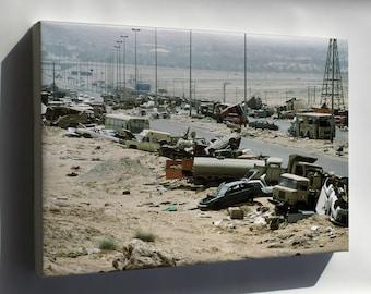 Canvas 24x36; Highway Of Death,Kuwait During Operation Desert Storm Highway 80