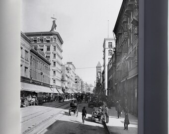 Canvas 24x36; Broadway North From Fourth Street, Downtown Los Angeles, 1903-1905 (Chs-1876)