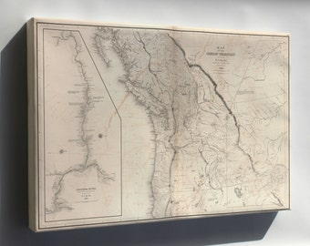 Canvas 24x36; Map Of Oregon Territory; Inset Map Of Columbia River 1841