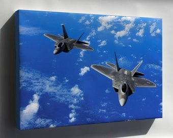 Canvas 24x36; Usaf F-22 Raptors 90Th Fighter Sqd, Elmendorf Air Force Base