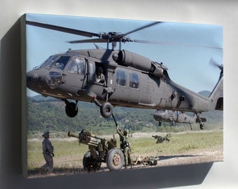 Canvas 16x24; Rok 105 Mm Howitzer Loading Onto Uh-60 Black Hawk Attack Helicopter