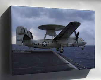 Canvas 16x24; E-2C Hawkeye (Vaw-115) Uss Kitty Hawk (Cv 63)