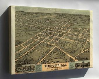 Canvas 16x24; Huntsville Al Usa 1871 Birds Eye View