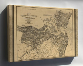Canvas 16x24; Map Of Charleston South Carolina & Defences 1863