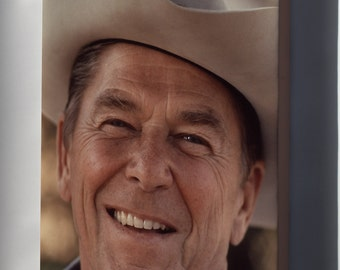 Canvas 16x24; President Ronald Reagan In A Cowboy Hat At Rancho Del Cielo