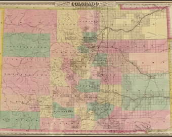 16x24 Poster; Colton'S Map Of The State Of Colorado 1878