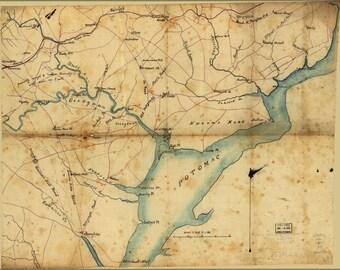 16x24 Poster; Map Fairfax & Prince William Co'S Virginia 1865