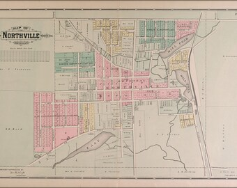 16x24 Poster; Map Of Northville Michigan 1891