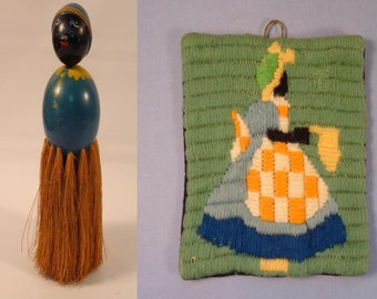 Black Americana Mammy Folkart Brush and Pot Holder Set