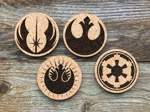 Star Wars Emblem Coasters Gift Decor Laser Burned Cork Coaster Set of 4