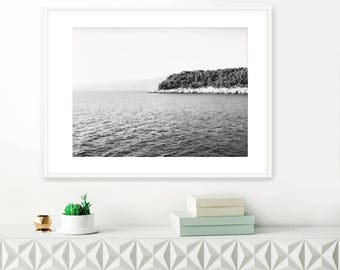 Minimalist Beach Print, Croatia Photos, Black and White Fine Art Photograph, Ocean Print, Travel Photography, instant download