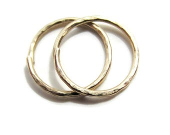 Handmade Texture Gold Small Size Hoop Earrings for Ear Lobe or Cartilage, Choose Size