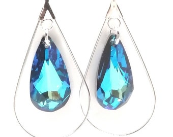 Teardrop dangle earrings with Swarovski Bermuda blue crystal teardrop.