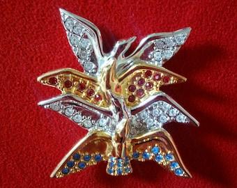 Birds Brooch - Crystal Brooch - Bird Pin - Designer Brooch - Vintage Bird Brooch - Estate Jewelry - Vintage Brooch - Swarvosky Crystals