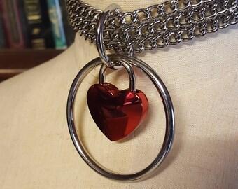Mature Valentine's, BDSM Collar with Heart, Bondage collar, Submissive collar, Pet Play collar, Kitten Play Collar, Bondage toys, Sex toys