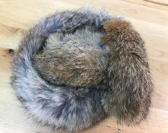 Ear muffs Brown rabbit fur vintage