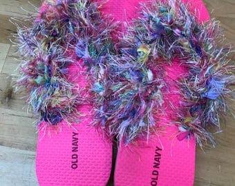 Pink flip flops summer tongs women's size 9