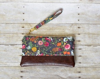 Pink and gray floral wristlet - vinyl wristlet - floral wristlet - phone pouch - small purse -  wristlet - bridesmaid gift - gift for her
