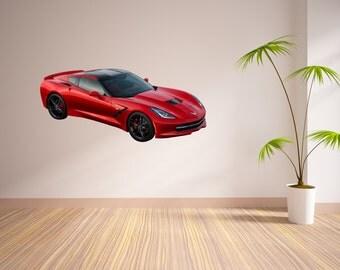 Sports Car Vinyl Wall Decal, Wall Decal, Car Decal, Sports Car Stickers, Home Wall Stickers, Cars, Red Car, Red Sports Car, Red Corvette