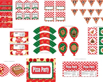 Pizza Party Birthday Party Package, Pizza Party Favors, Pizza Decorations, Pizza Birthday Party, Slumber Party decorations,