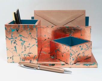 Handmade Desk Set/ Stationery Set/ Desk Accessory Set - Copper & Turquoise Blue Green