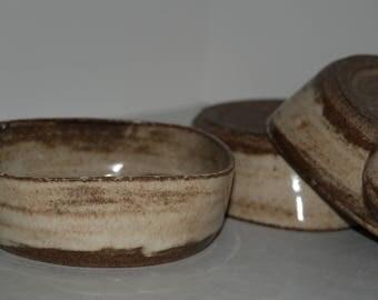 Handmade pottery bowl set. Cereal or salad pottery bowl set.