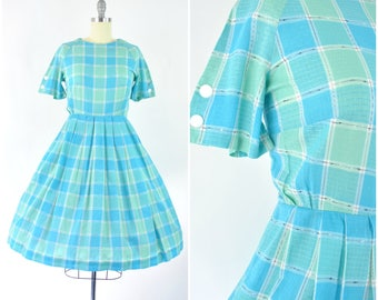 "1950's early 60's cotton dress  sz L (B 38"" W 30 - 31"")  / Vintage 50's blue green plaid dress / buttons, full skirt, sundress day dress"