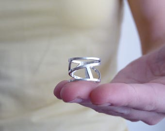 Contemporary Ring – Sterling Silver Modern Ring in Asymmetric Design
