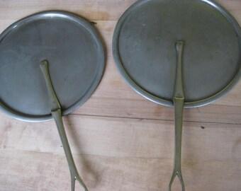 2 French vintage loose lids in nickel metal.