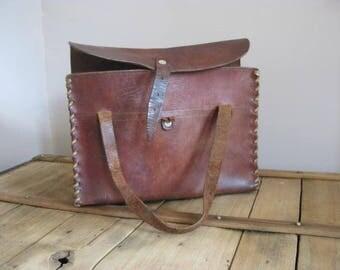 Vintage French brown leather handbag.