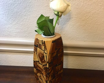 Vintage Post Modern Mid Century Abstract Handmade Wood Bud Vase or Pen Pencil Cup by Tesch Wood