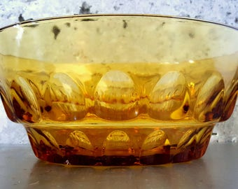 Vintage Gold/Honey/Amber Glass Serving/Salad/Chip/Fruit/Punch Bowl w/Thumb Print/Dimple/Dot Pattern Vintage Glassware/Vintage Serving Bowl