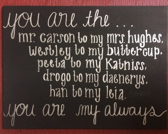 "CUSTOMIZABLE Fandom Couples ""You Are My Always"" Hand Painted Canvas"