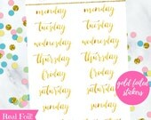 Gold Foiled Weekdays Script Stickers (perfect for planners) #GFS-006