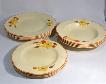 Art Deco Woods Ivory Ware 4 place dinner service – original from the 1940s