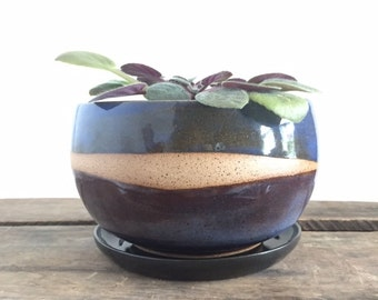 Ceramic Planter with Drainage Dish. Stoneware Clay. Flower Pot. Planter. Gift. Unique. Blue. Modern.