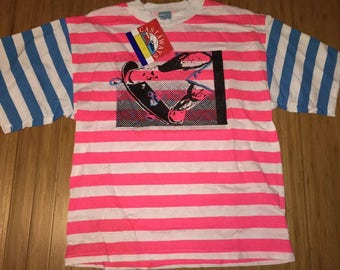 Vintage 90s Skateboard striped tank top Deadstock guess vlone rare surf california