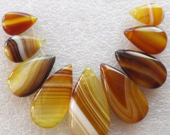 Natural Striped Brown Agate Teardrop Pear Pendant Bead Set. Lot of 9 pcs:  37x20x7 mm - 18x12x5 mm.